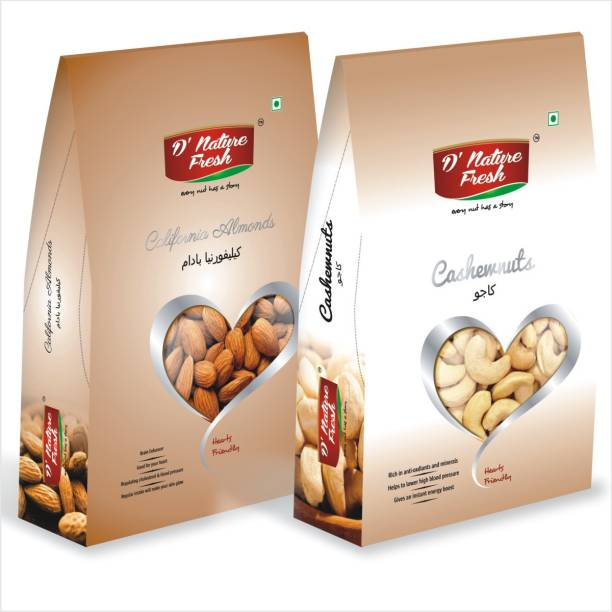 D NATURE FRESH Daily Needs Mixed Nuts Dryfruits Combo – 500gm Pack of 1 (Almonds 250gm & Cashews 250gm) Cashews, Almonds