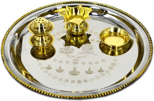 ME&YOU Silver Plated Laxmi Ganesha Amberoid Pooja thali with brass decorative for Diwali Pooja | Navratras | Dhanteras | Bhaidooj and Gift for Friends & Relative (9 Inch) Silver Plated, Brass