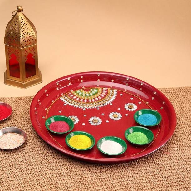 Aurum Fancy rangoli set with thali Stainless Steel