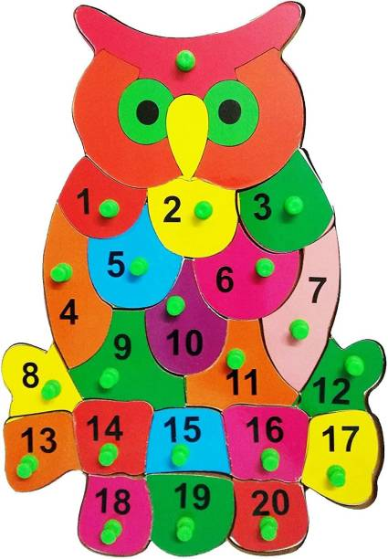 Khilonewale Wooden Puzzles Set for Toddlers 2 3 4 Years Old, Owl Number Learning Puzzles Board for Kids, Preschool Educational Activity Toys Gift for Boys Girls