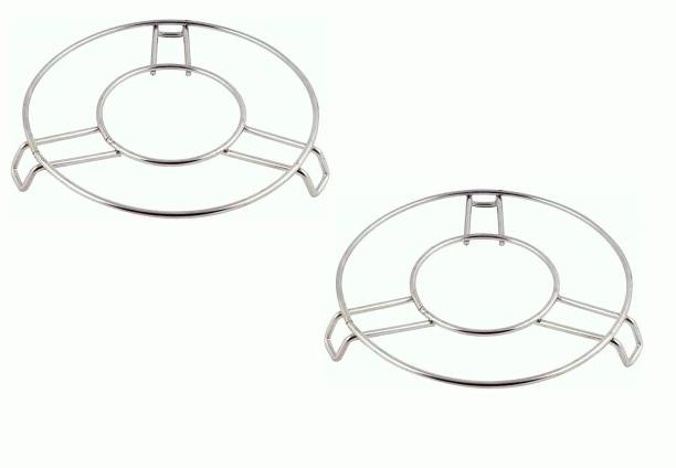 NFM COOKER STAND Kitchen Cooking Pot Steaming Tray Stand Stainless Steel Round Cooker Steamer Rack Stand Cookware Tool PACK OF 2 Steel Steamer