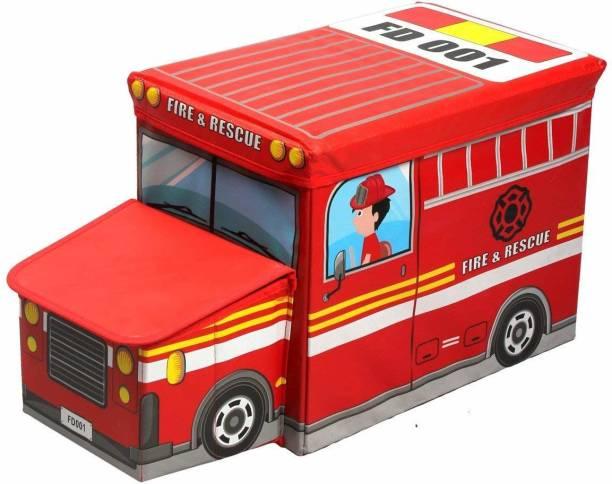 HUENISH Portable & Foldable Laundry Box Cum Sitting Stool Folding/Sitting Stool/Stool/pouffes for Living Room/Puffy Stool (57 cm x 32 cm x 25 cm) (Fire & Rescue Bus) Stool