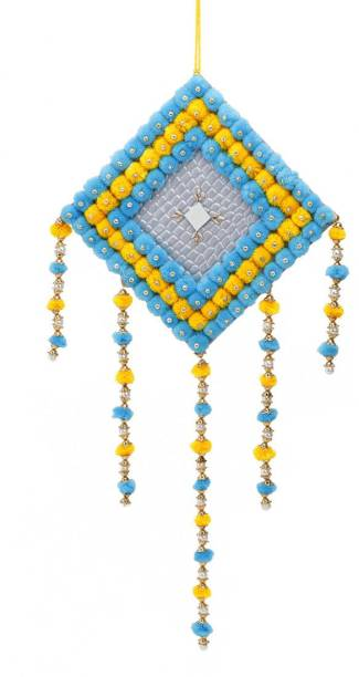 DULI Yellow & Skyblue Pompom Home Decorative Wall Hanging Décor Art for Bedrooms, Office, Balcony, Outdoors & Garden Wool Windchime