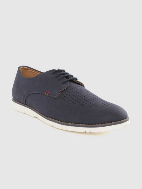 MAST & HARBOUR Mast Harbour Men Navy Blue Perforated Derbys Sneakers For Men