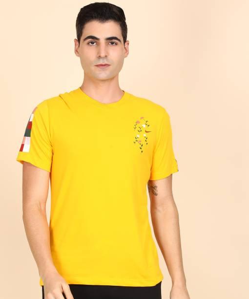 NIKE Printed Men Round Neck Yellow T-Shirt