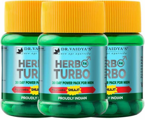 Dr. Vaidya's Herbo24Turbo -Male Sexual Wellness contains Shilajit - Pack of 3