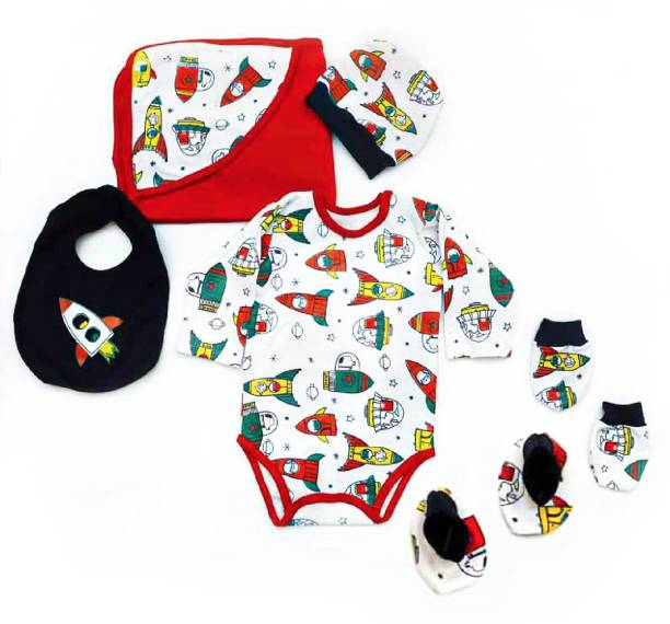 Miss & Chief New Born Baby | Rocket Print 6 In 1 | Gift pack(0-6 Months)
