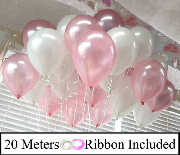 DECOR MY PARTY Solid 10 Inch White & Light Pink Metallic Balloons for Birthday Party Decorations , Engagement , Decoration for Wedding Balloon
