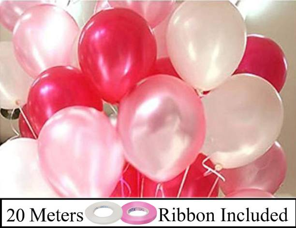 DECOR MY PARTY Solid 10 Inch Pink, Red & White Metallic Balloons for Birthday Party Decorations , Engagement , Decoration for Wedding , Baby Shower Decoration Items , 1st Birthday Party Decoration Balloon , Anniversary Party , Bachelors Party , Office Party , Diwali , New Year Party, Christmas Decoration Items Balloon