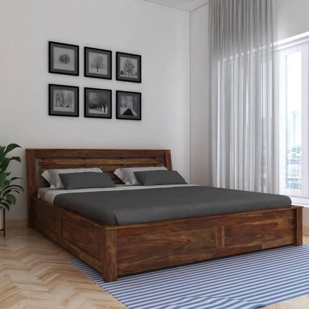 Vintej Home Woodser Box Sheesham Solid Wood King Box Bed