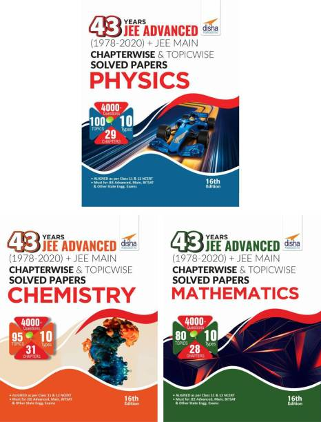 43 Years Jee Advanced (1978 - 2020) + Jee Main Chapterwise & Topicwise Solved Papers Physics, Chemistry & Mathematics
