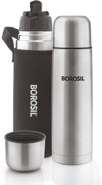 BOROSIL Hydra Thermo Stainless Steel Vacuum Insulated Flask Water Bottle, 1000 ML, Black 1000 ml Bottle