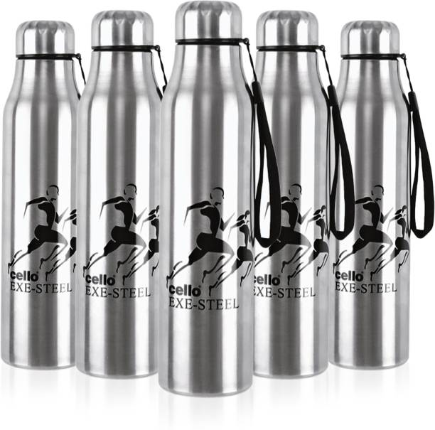 cello Goldie Stainless Steel Water Bottle Set, 1 Litre, Set of 5 pcs, Silver 1000 ml Bottle