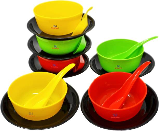 Sarthak Uphaar Plastic Microwave Safe Soup Bowl Set of 18 Pieces (6 Bowl, 6 Spoon, 6 Plates) Plastic Soup Bowl Plastic Soup Bowl