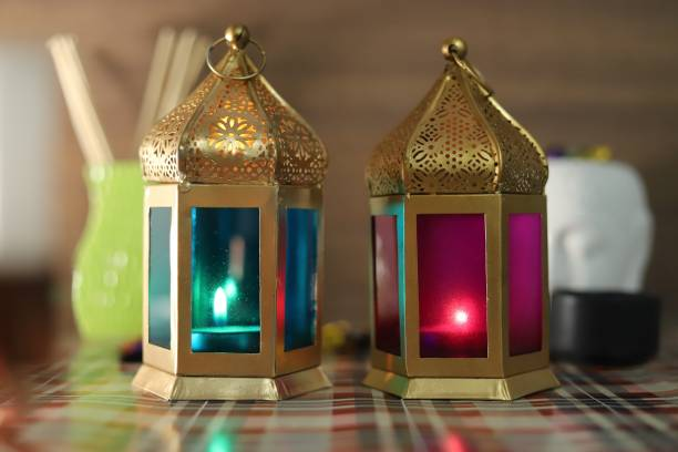Lasmo Golden Color Lantern with Multicolour Glass | (Golden Lantern with Pink And Green Glass) Iron Tealight Holder Set