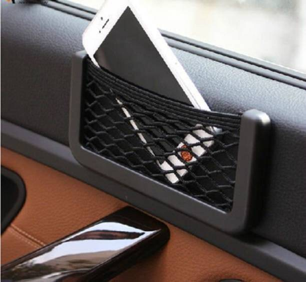 guruji system Universal Car Net Holder Phone Holder Pocket Organizer String Bag Mobile Stand Car Storage Bag