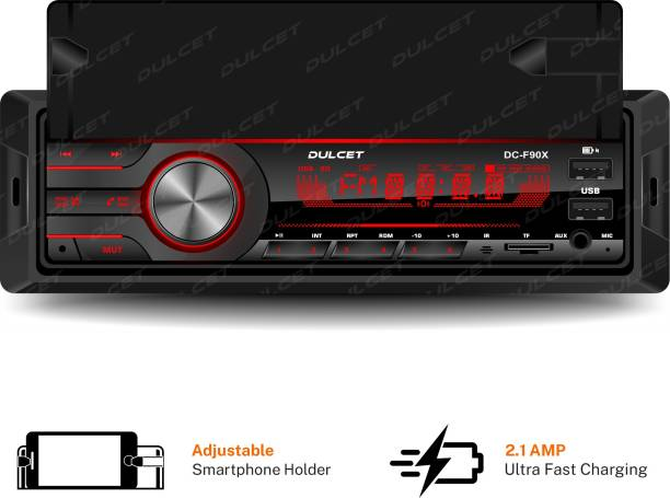 DULCET DC-F90X 220W High Power Stereo Output Universal Fit Single Din Mp3 Car Stereo with in-Built Smartphone Holder | 2.1 Amp Ultra Fast Charging | Dual USB Ports | Bluetooth | Hands-Free Calling | FM Radio | AUX Input | SD Card Slot | Remote Control | 7 Color LCD Display | ID3 Tag with EQ | Bass | Treble | Balance & Fader Control DC-F90X Car Stereo
