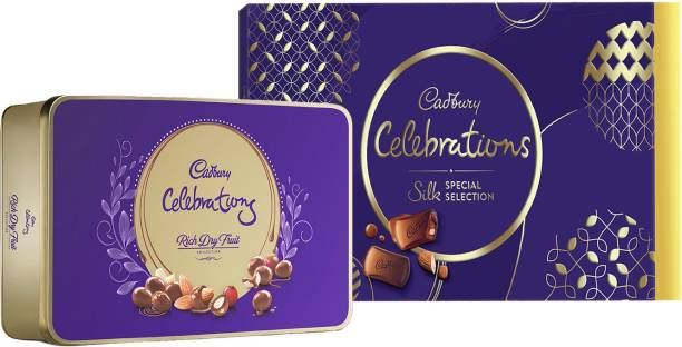 Cadbury Celebrations Silk Special 233 G X 1, Celebrations Rich Dry Fruit Chocolate 177 G X 1 (Pack of 2) Bars