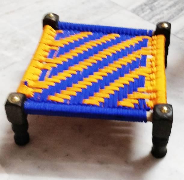 TULIPGIFT [8*8 INCHES]BED,CHOWKI FOR LADDU GOPAL OR LORD Wooden, Nylon Pooja Chowki