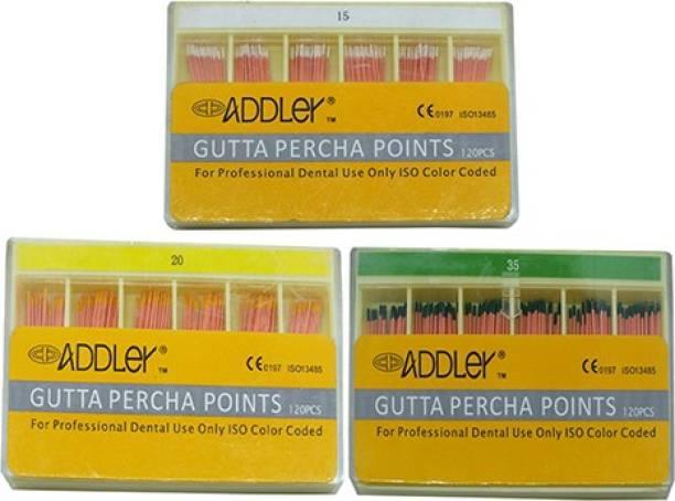 ADDLER DENTAL GUTTA PERCHA POINTS 2% (3X120 Sticks Each) SIZES:-15, 20, 35. TOTAL 3 PKTS