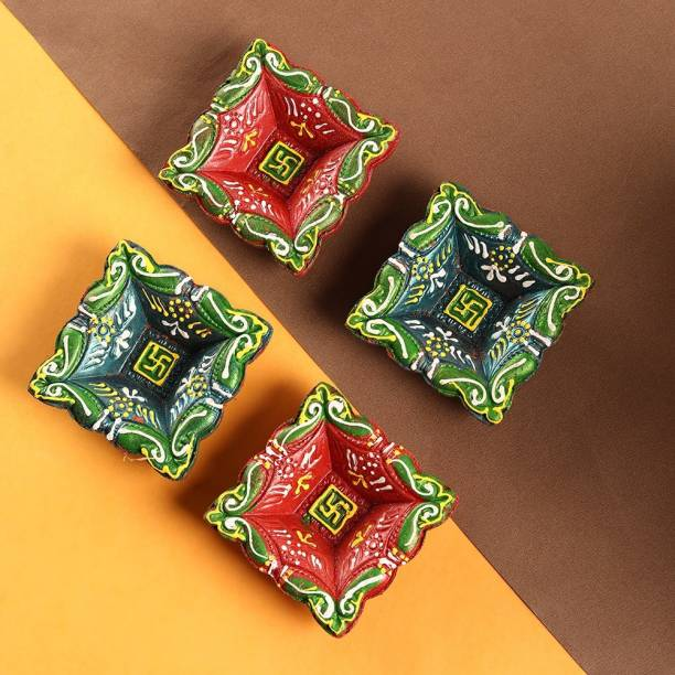 Anil Rakhi Terracotta (Pack of 4) Table Diya Set