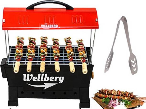 WELLBERG 2-in-1 Multi Purpose Electric & Charcoal Brbeque Grill & Tandoor with 4 Skewers Wooden Handle Electric Grill