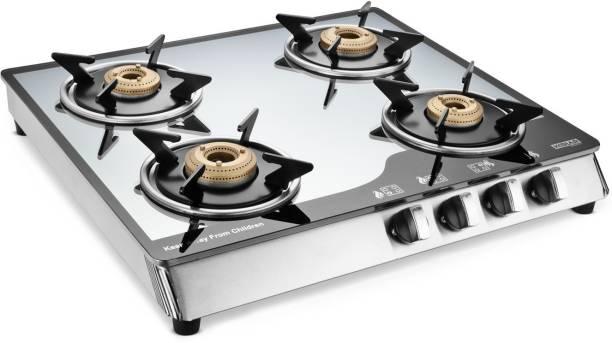 Kkolar Mirror finish manual 4 burner gas stove Glass, Stainless Steel Manual Gas Stove