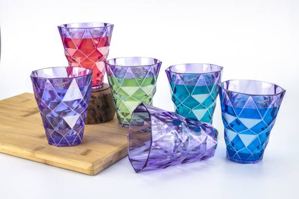 Madhuvan (Pack of 6) Diamond Charm Crystal Clear Purple Water, Juice And Cold Drink Glass Set Glass Set