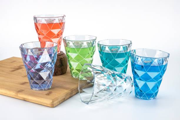 Madhuvan (Pack of 6) Diamond Charm Crystal Clear White Water, Juice And Cold Drink Glass Set Glass Set