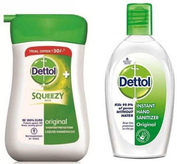 Dettol Original Germ Protection Handwash Liquid Soap Bottle 100l+ Hand sanitizer50ml- 100 ml Hand Wash Bottle
