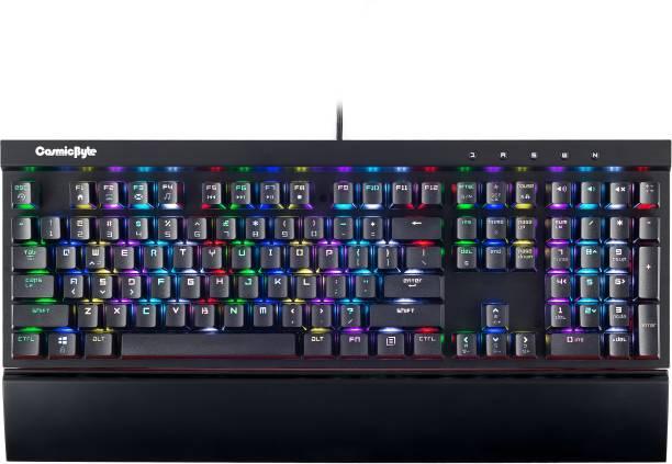 CosmicByte CB-GK-03 Black Eye Aluminium Mechanical, Real RBG Backlit with Effects Wired USB Gaming Keyboard
