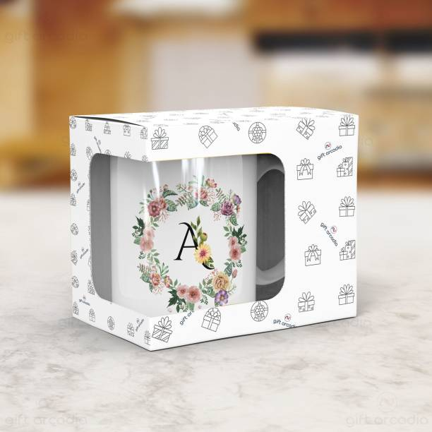 Gift Arcadia Letter A Flower Alphabet CoffeeMug | Best Gift for your Loved Once on their Special Day Ceramic Coffee Mug