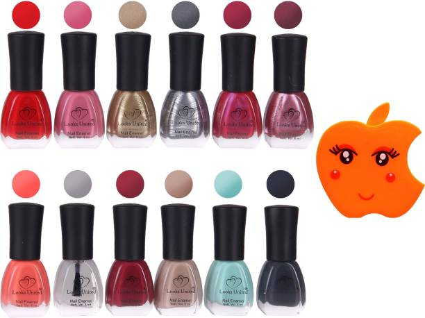Looks United 12 Premium Colors Nail Paint With Nail Paint Remover Wipes