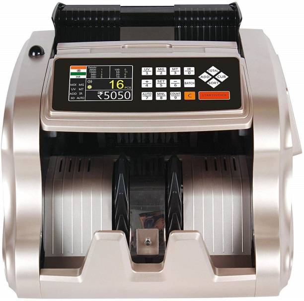 HANUTECH Heavy Duty Mix Note Value Counting Machine For All New & Old Denomination INR 10,50,100,200,500,2000 With Talking System & Colored LCD Display MG/UV/IR Counterfeit & Fake Currency Detector Counting Speed 1000 Notes/Minutes Note Counting Machine