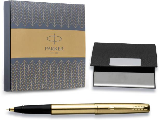 PARKER Frontier Gold Roller Ball pen with Parker cardholder Pen Gift Set