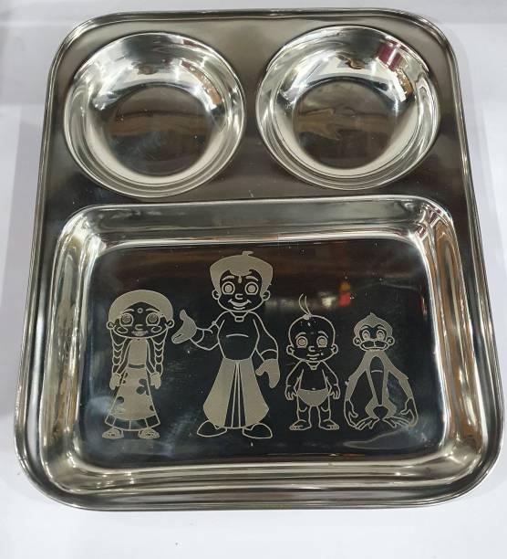 PARDEEP KHERA KIDS PLATE PARTITION 3 IN 1CHOTA BHEEM CARTOON SET OF 2 Dinner Plate