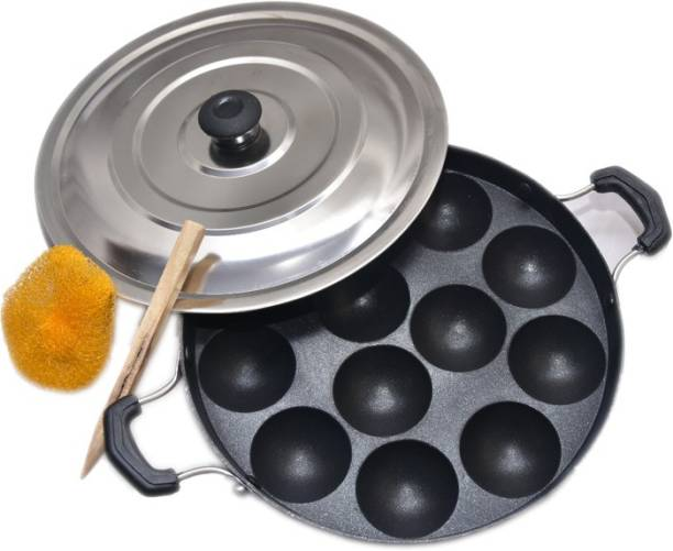 DTM Non-Stick Heavy Duty 12 Cavity Appam Patra Paniyarakkal Two Side Handle with Steel lid & Wooden Picker NA Pan 22 cm diameter with Lid