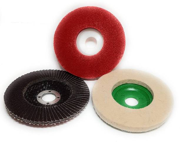 Inditrust 1pc Felt Polishing 1pc buffing wheel 1pc flap wheel Power & Hand Tool Kit