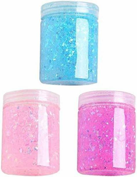 7Q7 Soft Slime Toy for Kids Glitter - Pack of 3 Multicolor Putty Toy