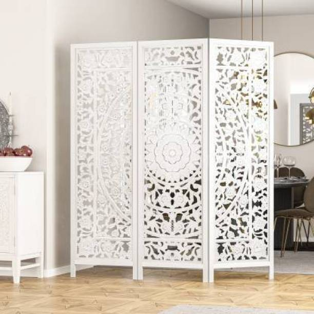 House of Pataudi Handcrafted 3 Panel Wooden Room Partition & Room Divider (White) Solid Wood Decorative Screen Partition
