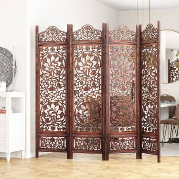House of Pataudi Handcrafted 4 Panel Wooden Room Partition & Room Divider (Brown) Solid Wood Decorative Screen Partition