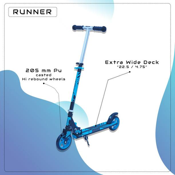GoodLuck Baybee Runner Skate Scooter for Kids /Baby Runner Scooter with Adjustable Height, Foldable PU Wheels and Weight Capacity 60 Kids for Babies Boys & Girls (3- to 12) Years - Blue Kids Scooter