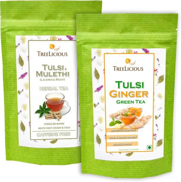 Treelicious Tulsi Ginger Green Tea & Tulsi Mulethi Herbal Tea 100 g Each Tulsi, Ginger, Liquorice Green Tea Pouch