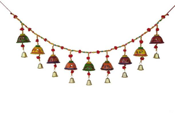 CRAFTOHOLICS Door/Wall Hanging Bells Bandarwal/Toran 1pcs Multicolour 41inch Microfiber || Handicraft Items Toran