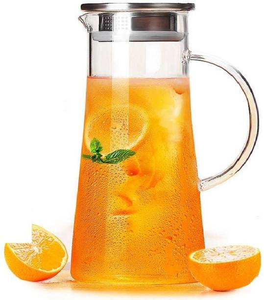 HOLOKAI 1.3 L Water 1.3 Liter Glass Pitcher with lid iced Tea Water jug hot Cold Water Wine Coffee Milk Juice Carafe (Pitcher) Pitcher