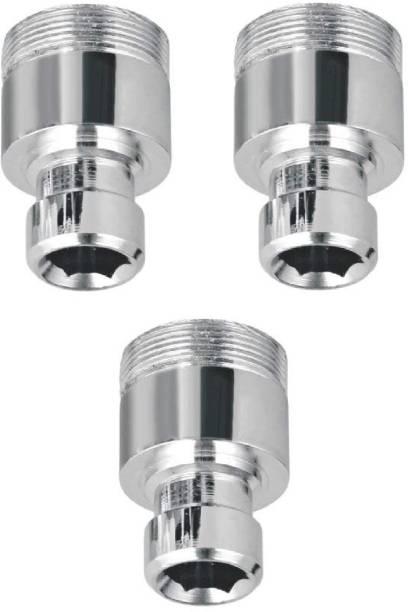 Life Vision Chrome Plated Brass Washing Machine C.P Nozzle, Adapter, Connector, Nipple Pack of 3 Piece Bidet Nozzle