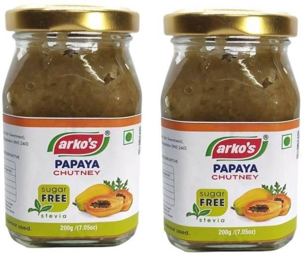 ARKOS Homemade Sugar Free Papaya Chutney , 400gm Chutney Paste