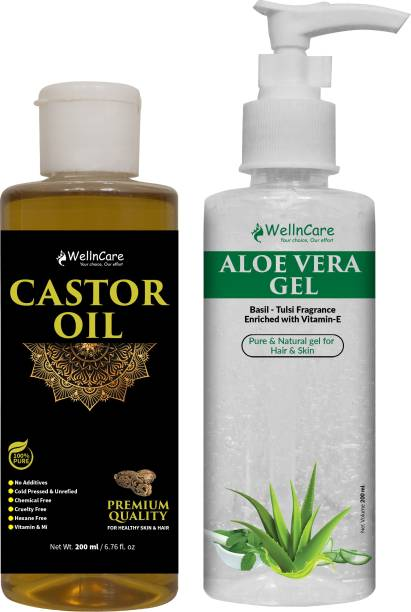 wellncare 100% Pure & Natural cold pressed Castor oil & Aloe Vera Gel Enriched with Vitamin-E - Combo Pack of 2 - 200ml each