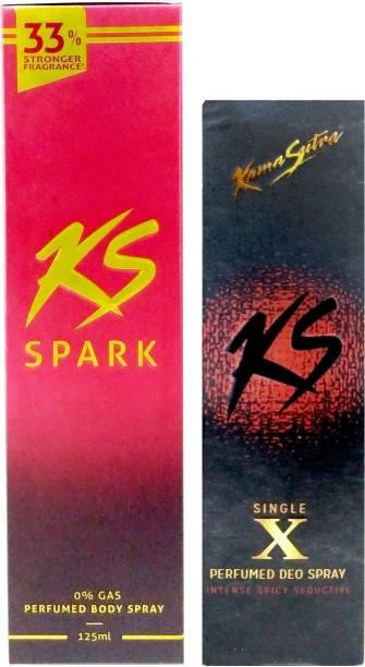 Kamasutra Spark Perfumed Body Spray And Black Deodoranat Deodorant Spray  -  For Men
