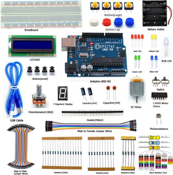 EPICTAC Starter Kit for Arduino UNO R3, LCD1602, Breadboad, DC Motor, Starter/Beginner Kit for Arduino with Tutorial and Code Educational Electronic Hobby Kit